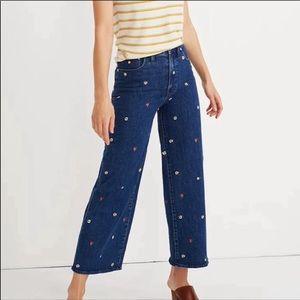 Madewell Crop Wide Leg Jeans Confetti Floral Sz 32